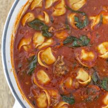Tortellini Soup with Italian Sausage & Spinach