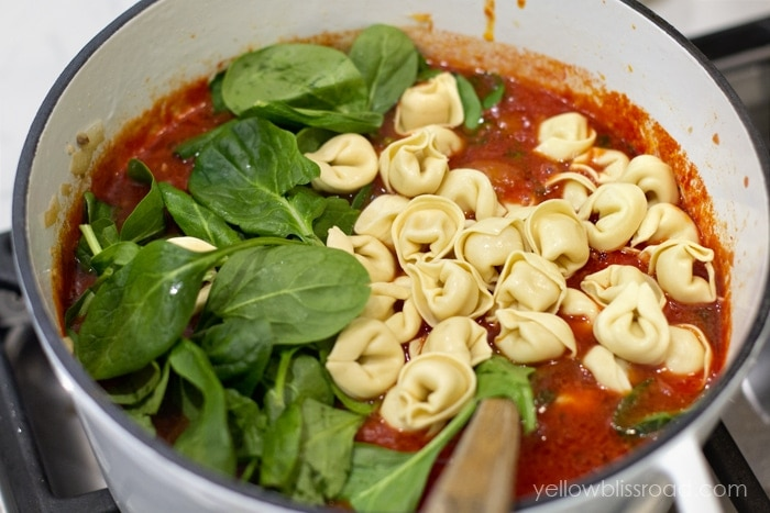 tortellini soup with italian sausage spinach with parmesan crostini