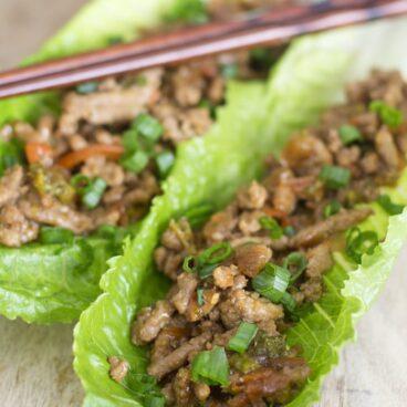 A close up of teriyaki lettuce wraps