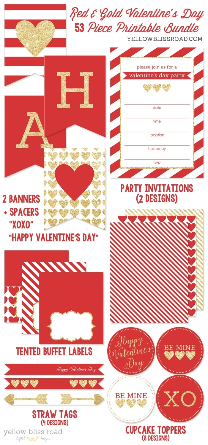 Valentine\'s Day Party Bundle - Yellow Bliss Road