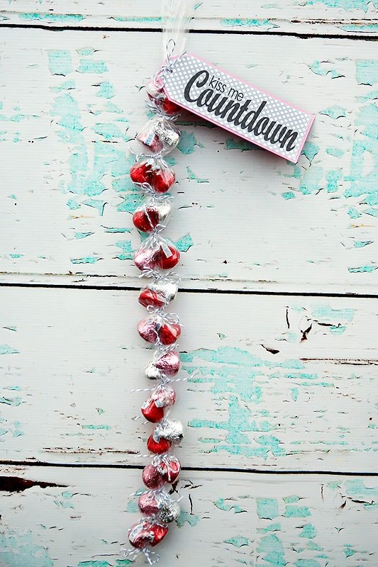 Close up of Valentine\'s countdown sign with chocolates