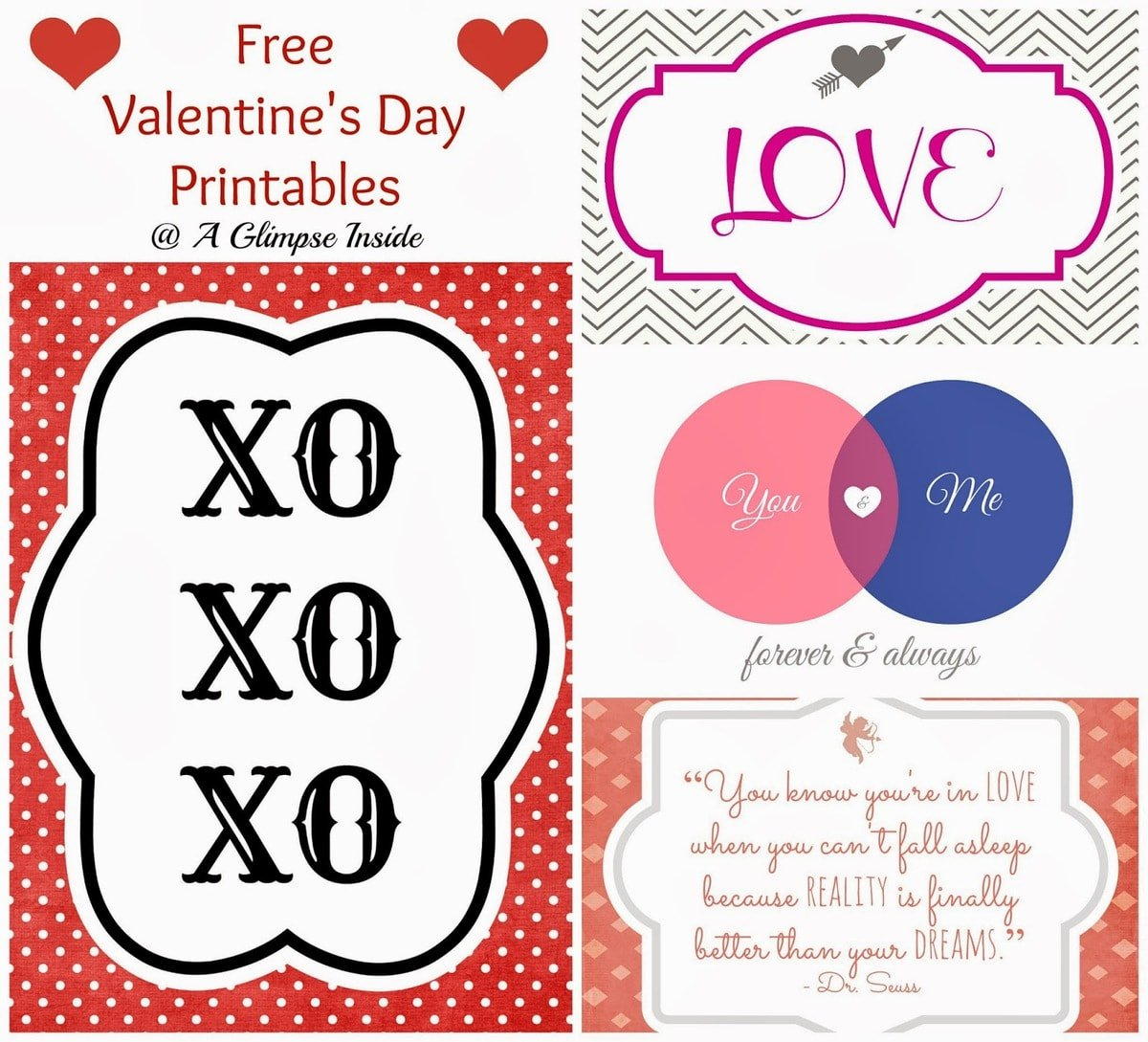 A close up of a printable Valentines