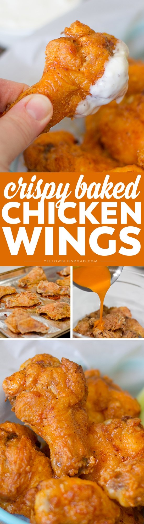 Chicken wings dipped in flour and spices, then baked until crispy. Coated with buffalo sauce these Crispy Baked Chicken Wings will become a family favorite!