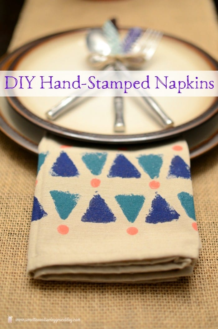 DIY Hand Stamped Napkins