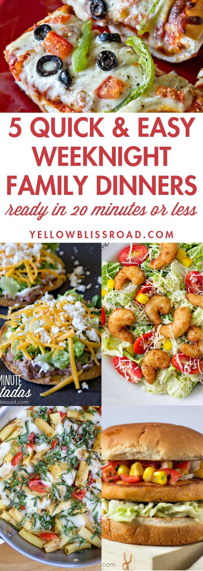 Five Quick and Easy Weeknight Dinners ready in 20 minutes or less