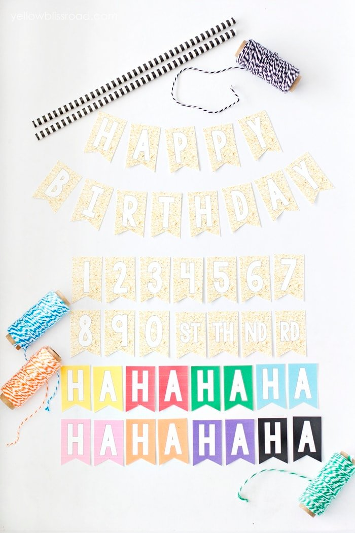Free Printable Happy Birthday Mini Cake Bunting in Several Colors
