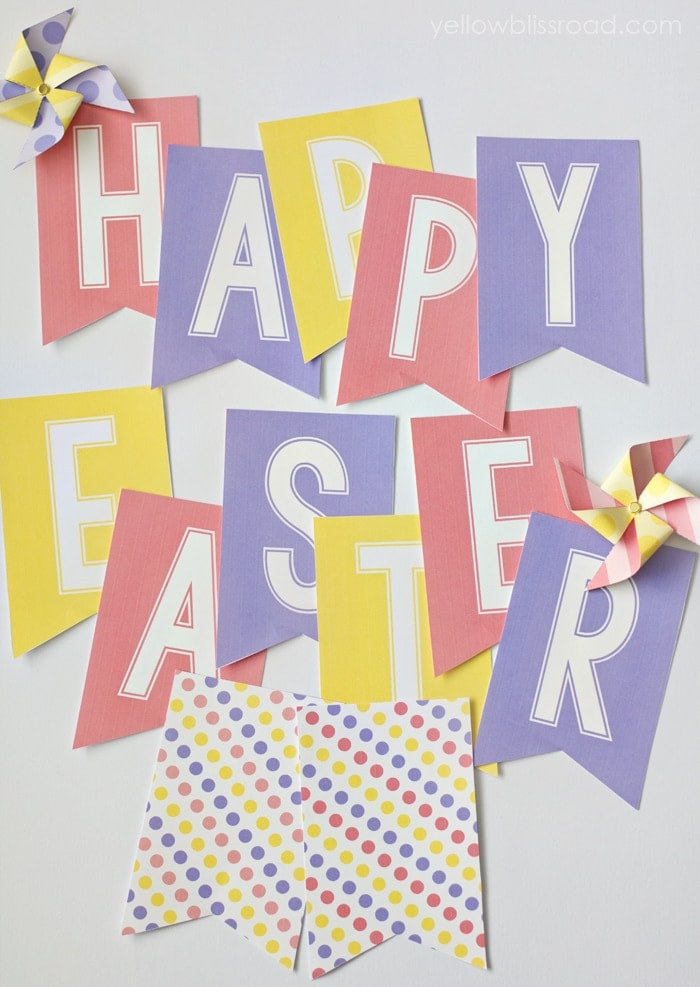 photograph relating to Easter Banner Printable referred to as Absolutely free Printable Spring Easter Banner and Pinwheels - Yellow