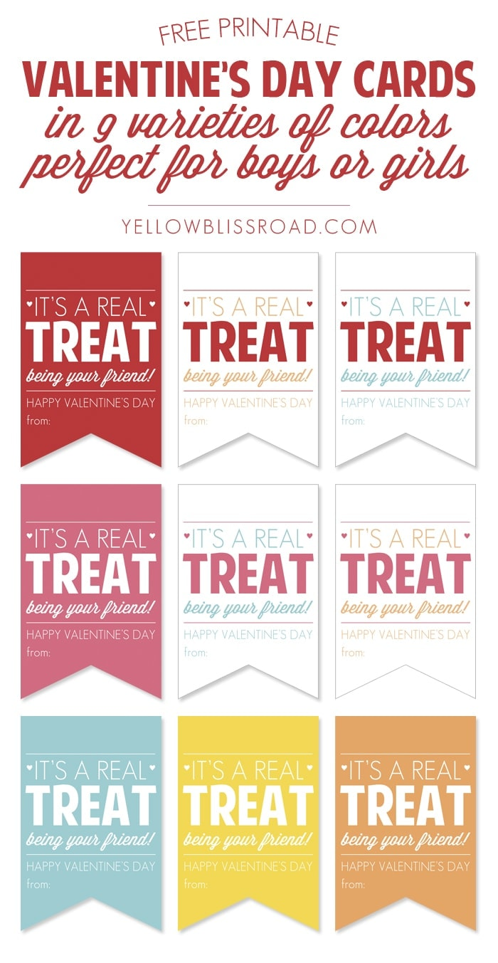 Free Printable Valentine Treat Cards for Boys or Girls in 9 Colors