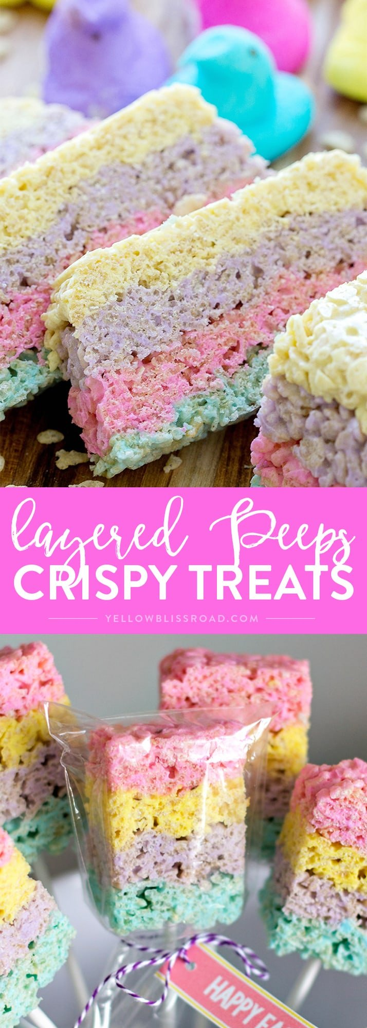Social media image of Layered Peeps Crispy Treats