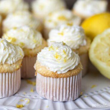 A close up of cupcakes