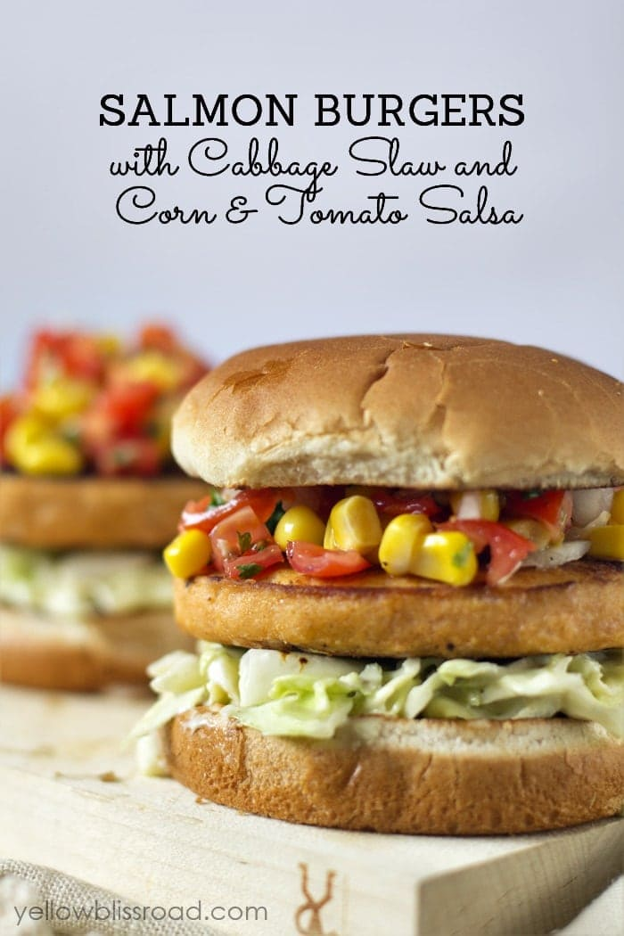 Salmon Burgers with Cabbage Slaw and Corn Tomato Salsa