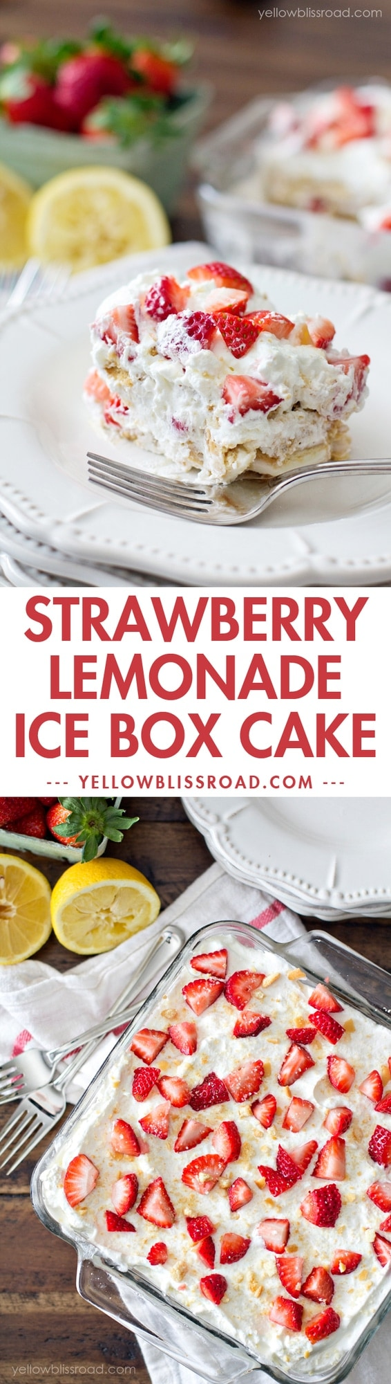Strawberry Lemonade Ice Box Cake with Golden Oreos