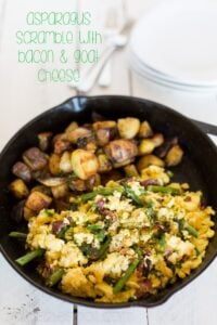 Asparagus scramble with bacon and goat cheese