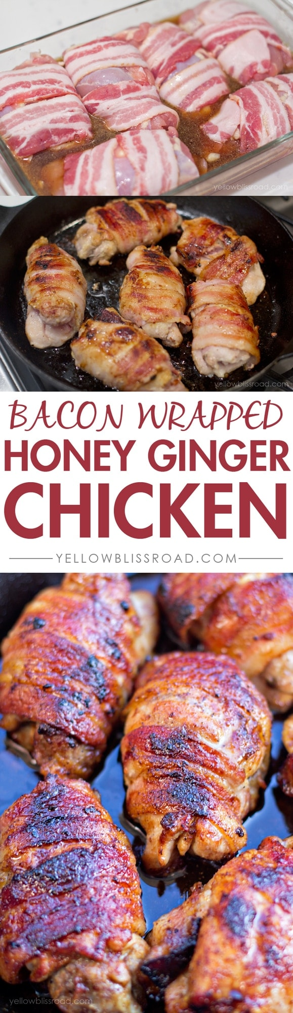 Bacon Wrapped Honey Ginger Chicken Thighs