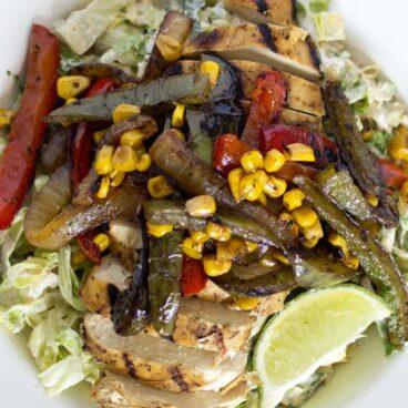 A plate of fajita salad