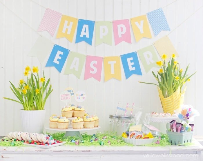 Colorful and Easy Easter Dessert Table