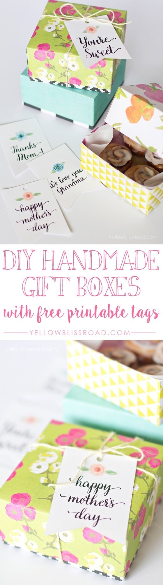 picture regarding Diy Gift Tags Free Printable referred to as Do-it-yourself Paper Handle Packing containers and No cost Printable Tags - Yellow Bliss