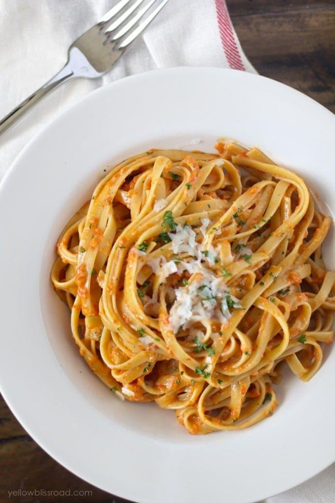 Roasted Red Pepper and Garlic Fettucine