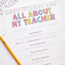 All About My Teacher Free Printable