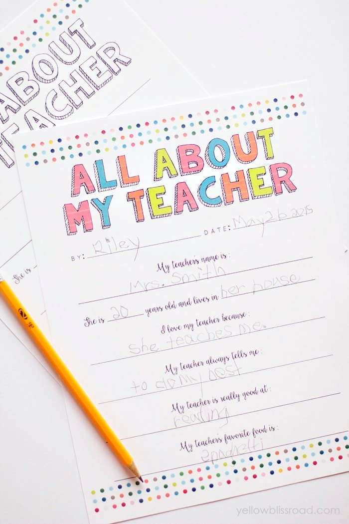 All About My Teacher Free Printable - Yellow Bliss Road