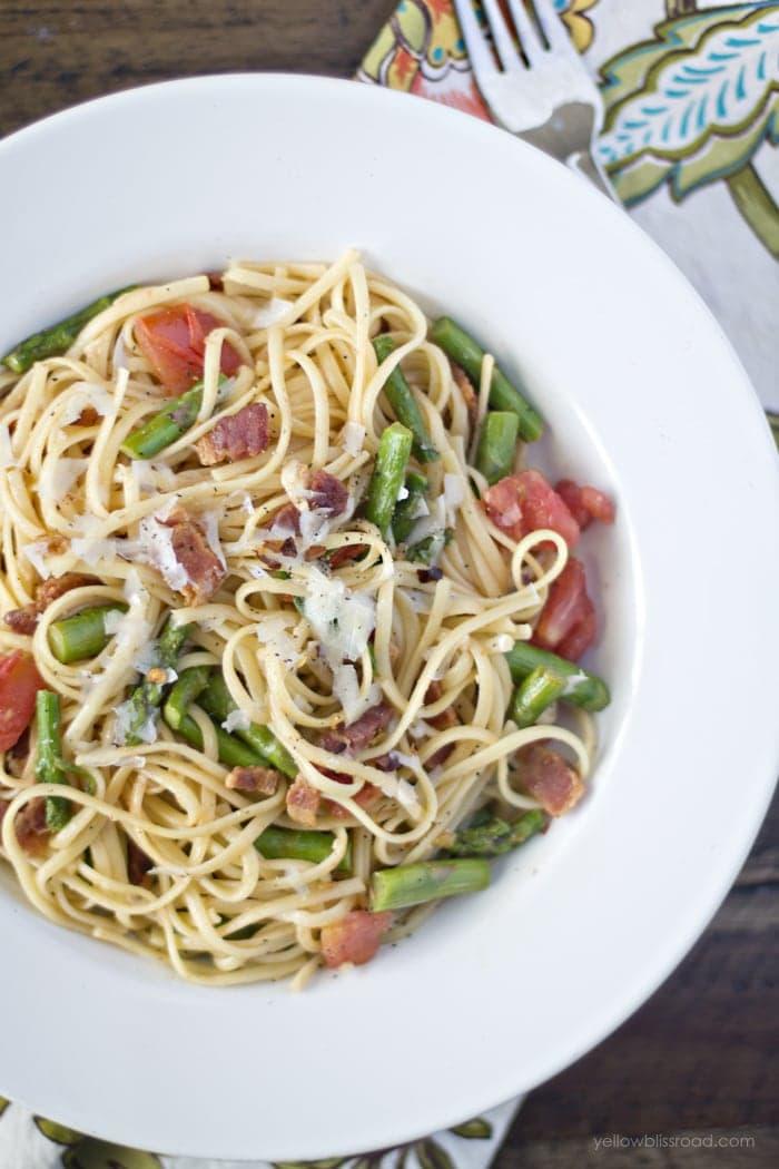 Bacon Asparagus Tomato Pasta