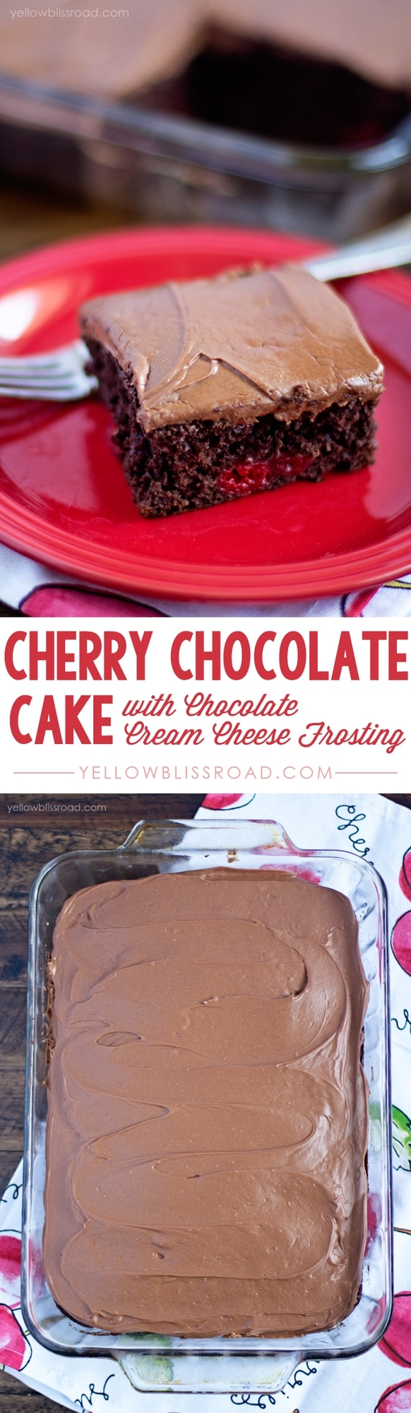 Sweet cherry pie filling combined with luscious dark chocolate cake mix, all topped with a decadent Chocolate Cream Cheese Frosting.