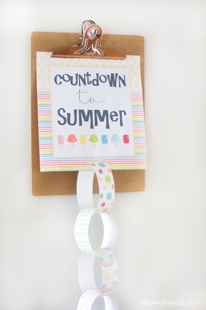 Countdown to Summer with free printable paper chain