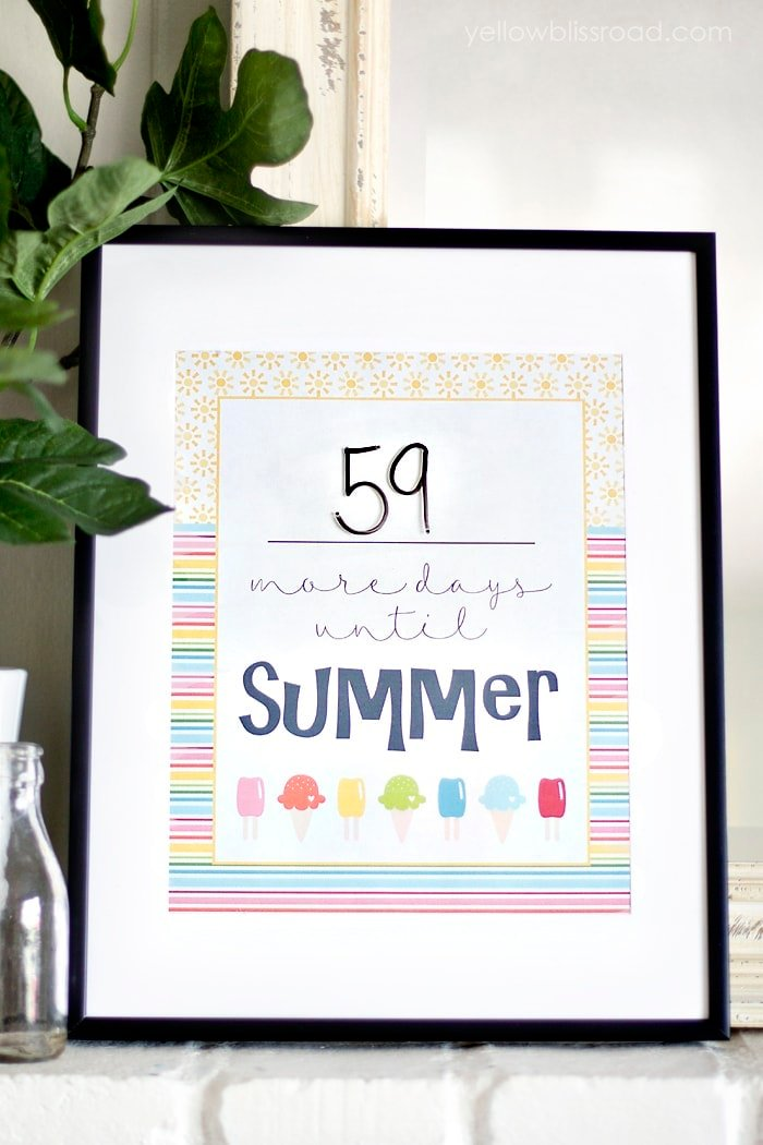 Erasable Summer Countdown Free Printable