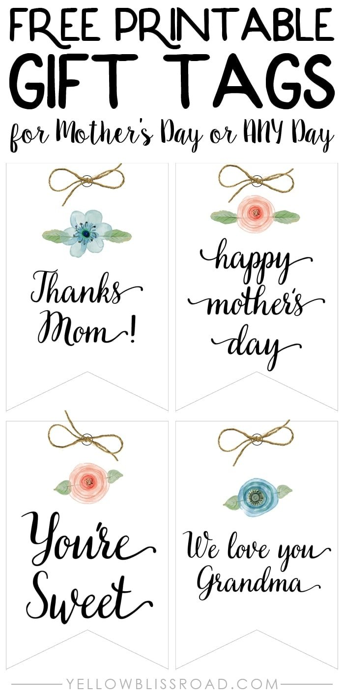 Free Printable Gift Tags for Mother's Day or Any Day