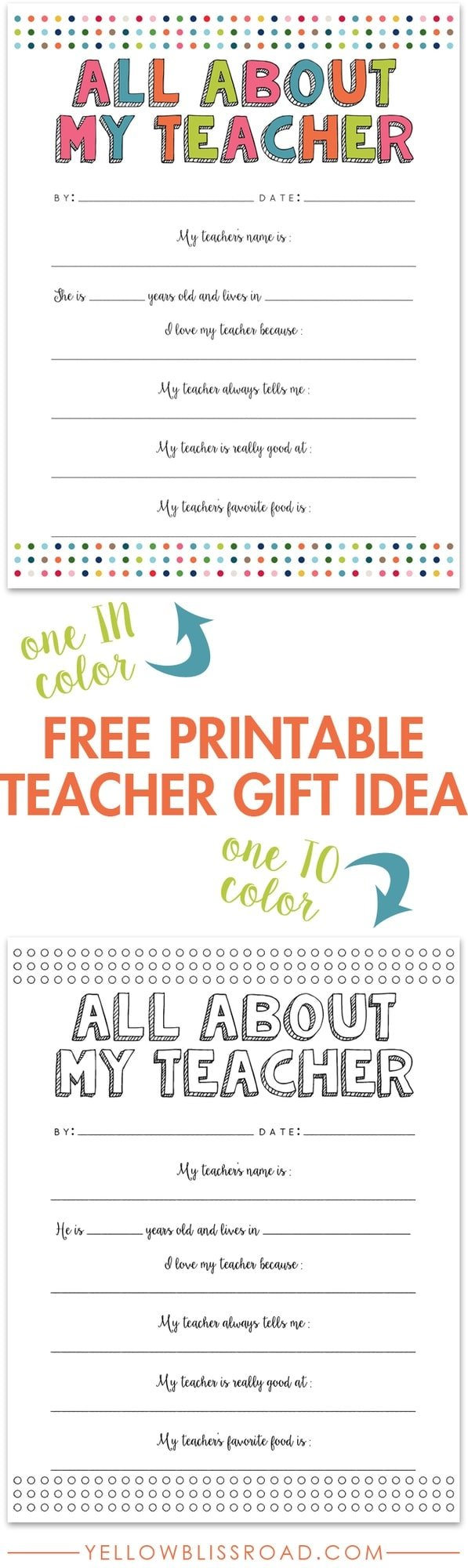 photo regarding All About My Teacher Free Printable named All More than My Instructor No cost Printable - Yellow Bliss Highway