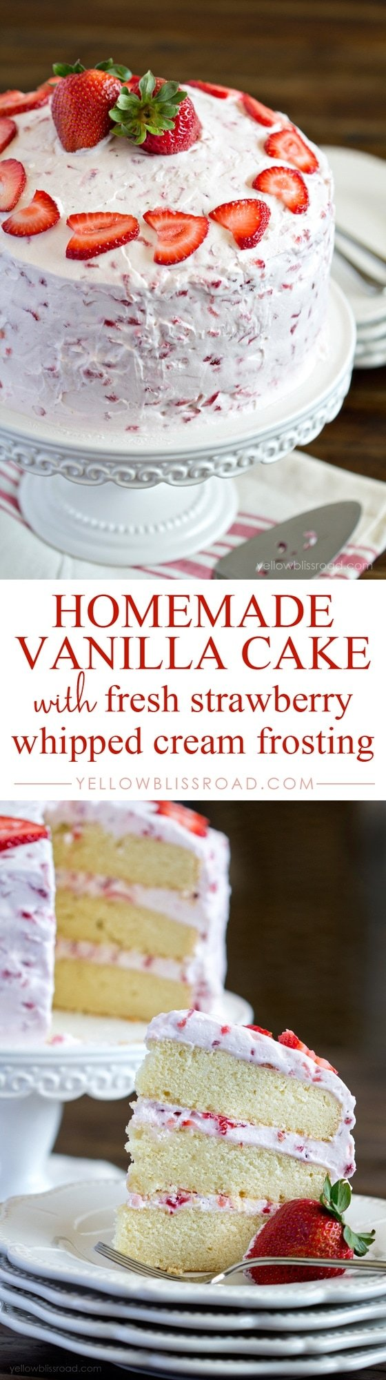 Homemade Strawberry Cake with Fresh Strawberry Whipped Cream Frosting
