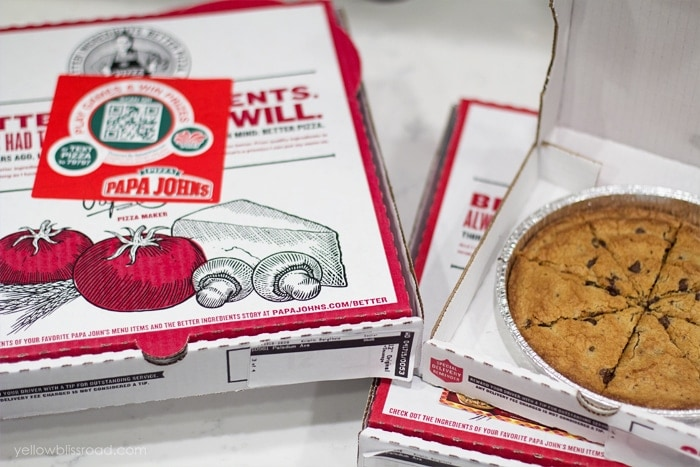 Papa Johns Pizza and Cookie