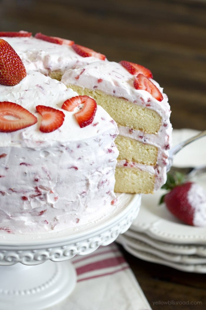 Fresh Strawberry Cake Recipe With Strawberry Whipped Cream Frosting