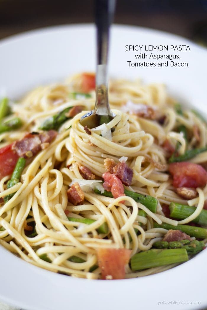 Spicy Lemon Pasta with Asparagus, Tomatoes and Bacon 2