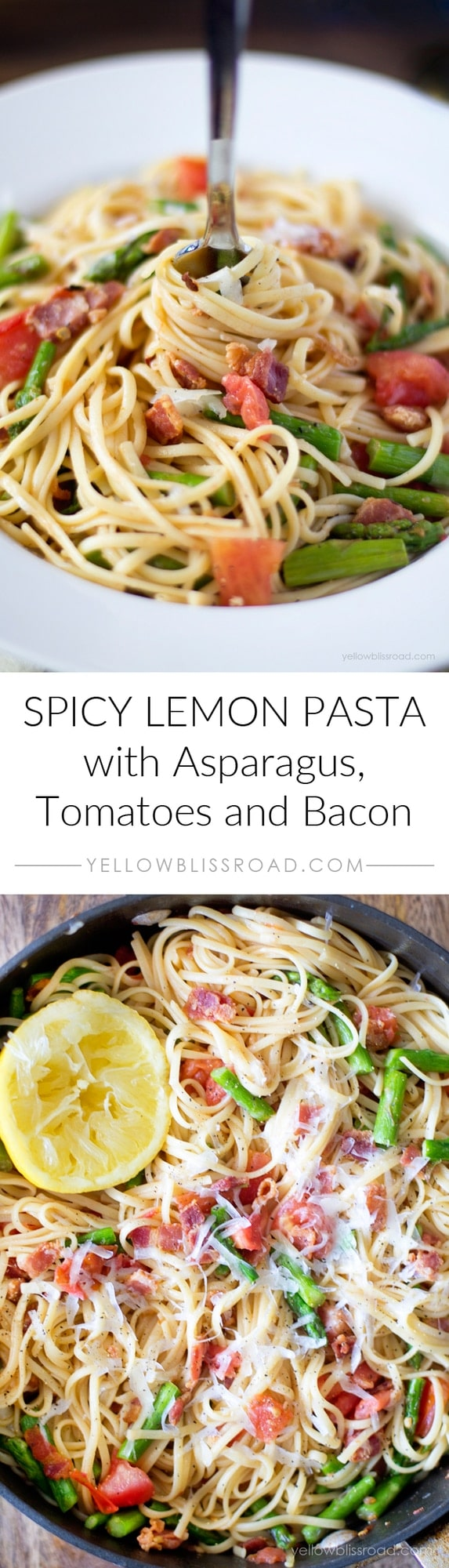 Spicy Lemon Pasta with Bacon, Asparagus and Tomatoes