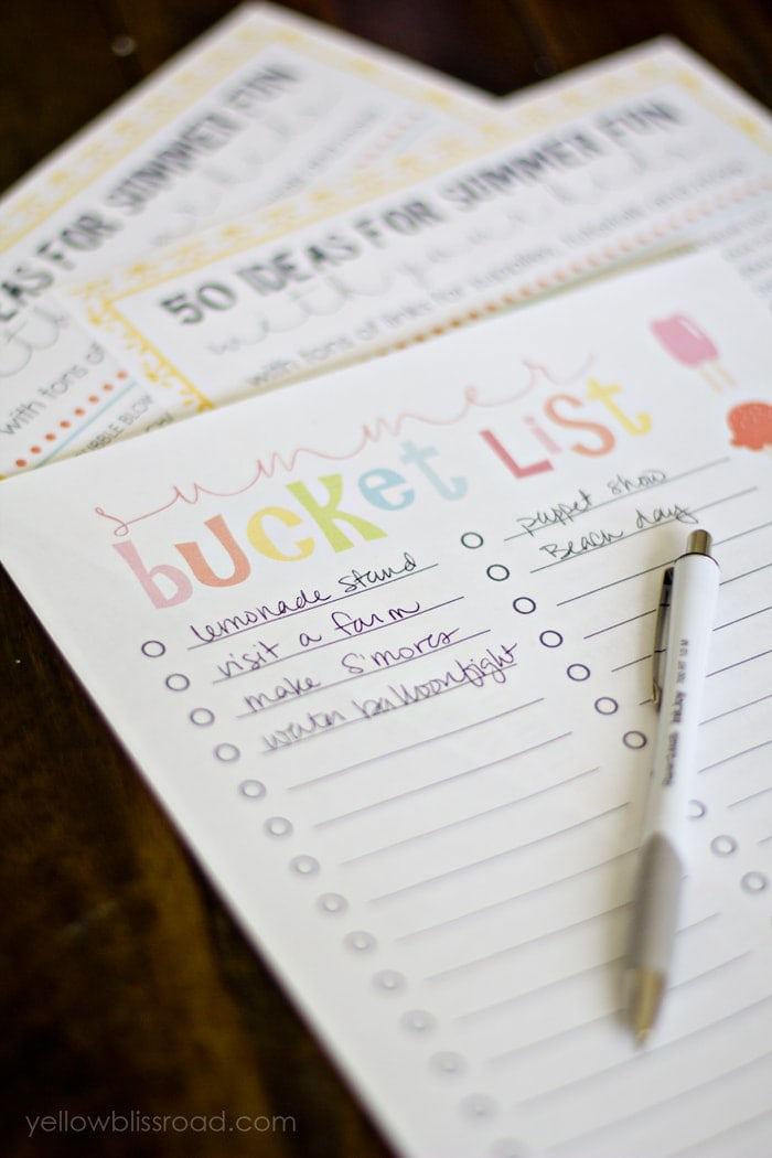 graphic about Bucket List Printable Template titled Absolutely free Printable Summertime Bucket Listing - Yellow Bliss Street