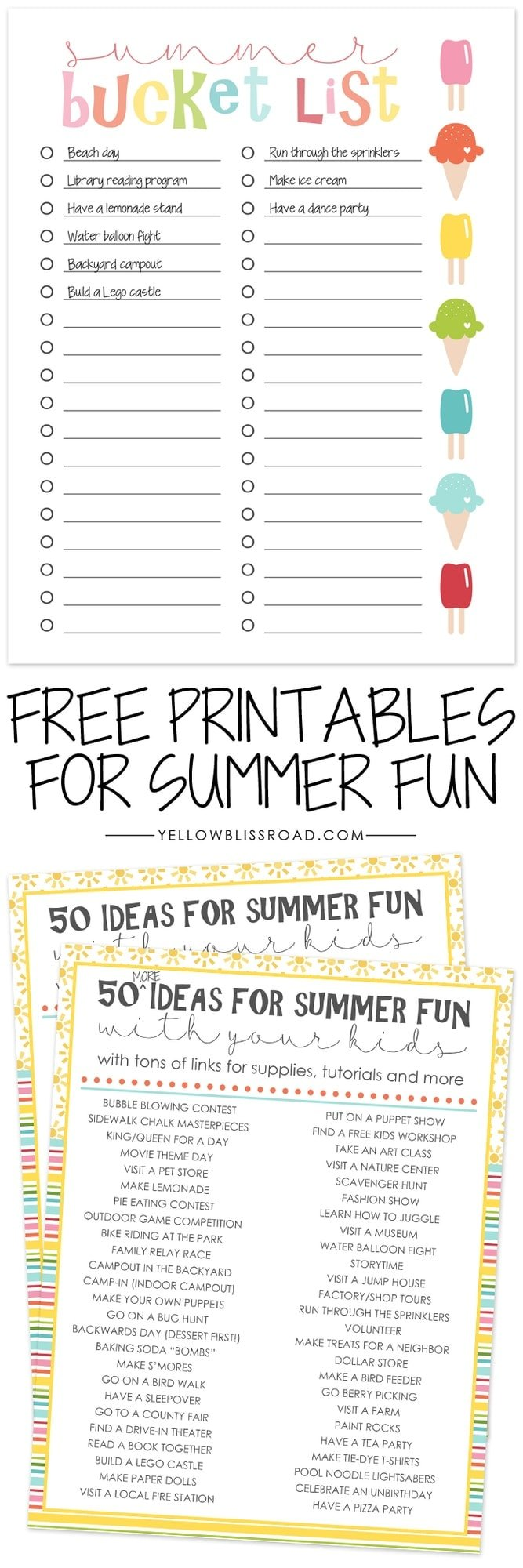 image regarding Bucket List Printable Template titled Totally free Printable Summer season Bucket Checklist - Yellow Bliss Highway