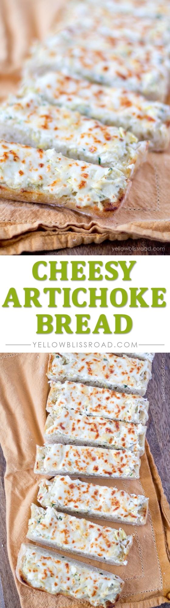 Super Cheesy Creamy Artichoke Bread