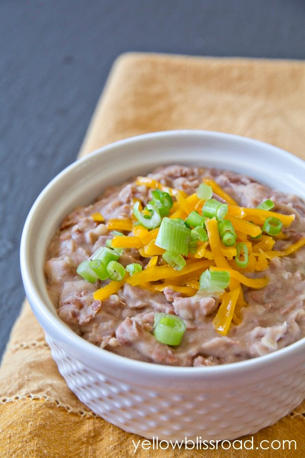 A bowl of refried beans