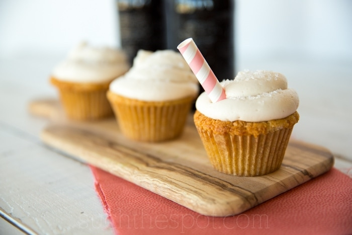 Three Root beer float cupcakes