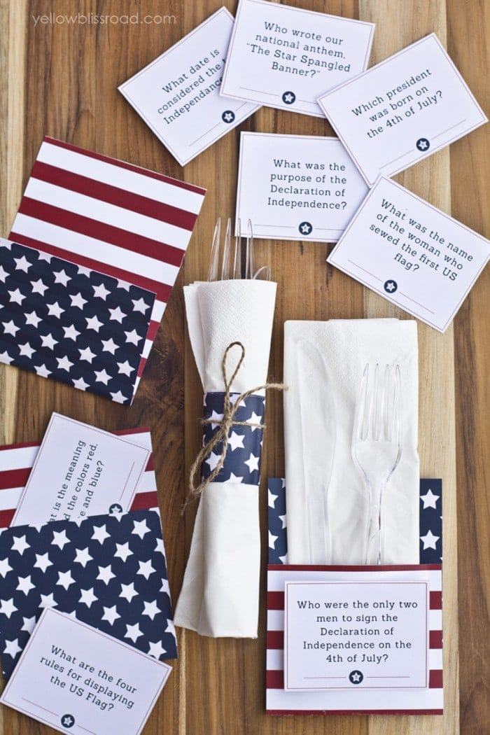 Free Printable 4th of July Trivia Cards & Utensil Holders