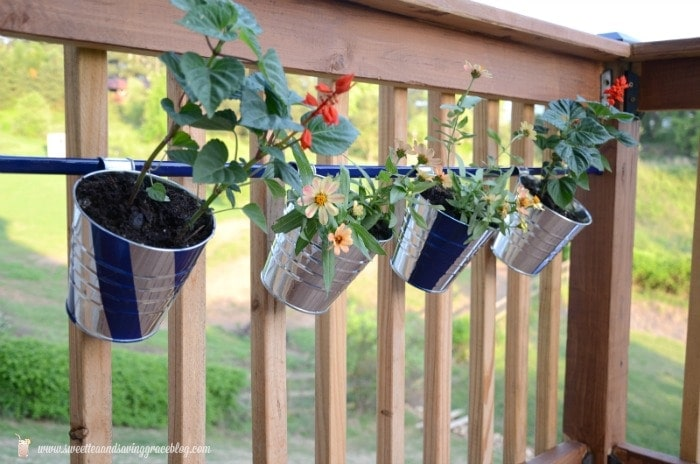 DIY Hanging Deck Flower Pots