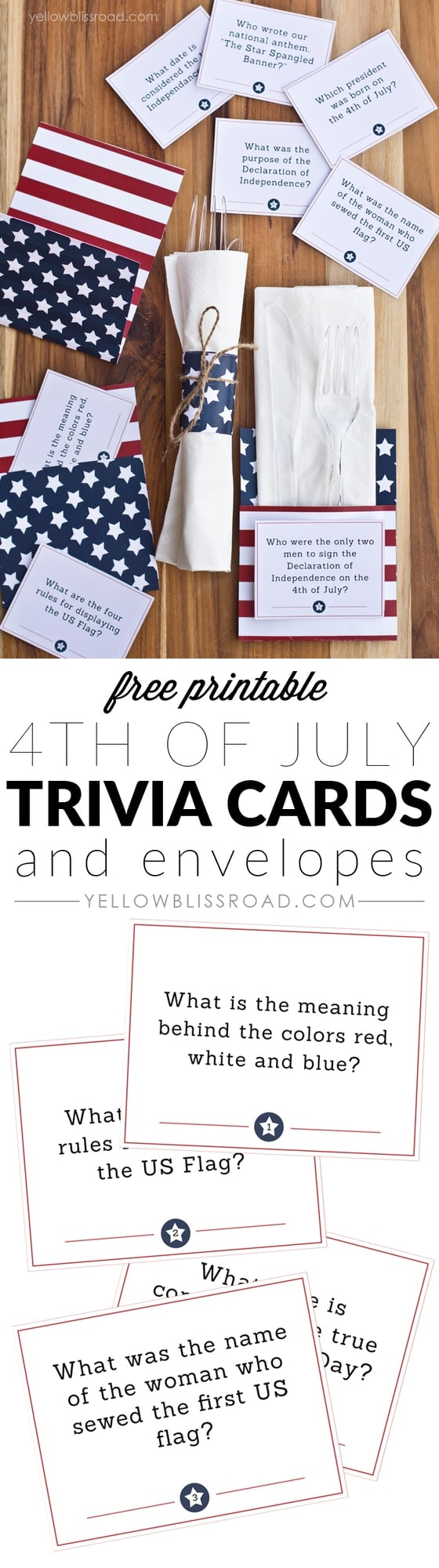 picture regarding 4th of July Trivia Printable identified as Free of charge Printable 4th of July Trivia Playing cards Utensil Holders