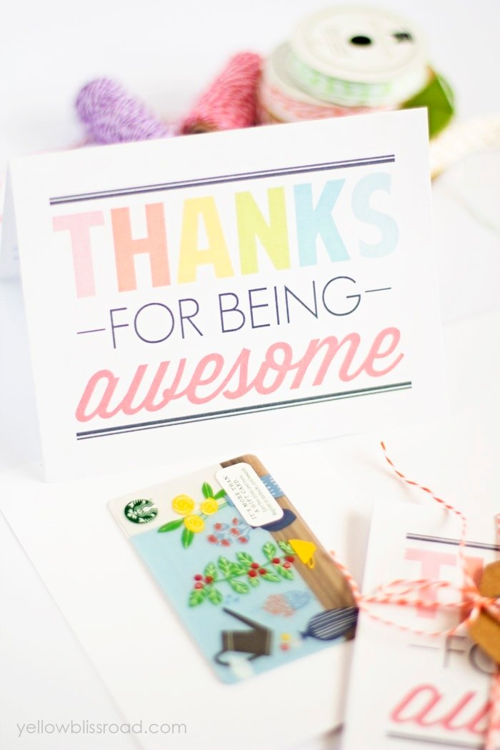 Free printable Thanks for Being Awesome Cards