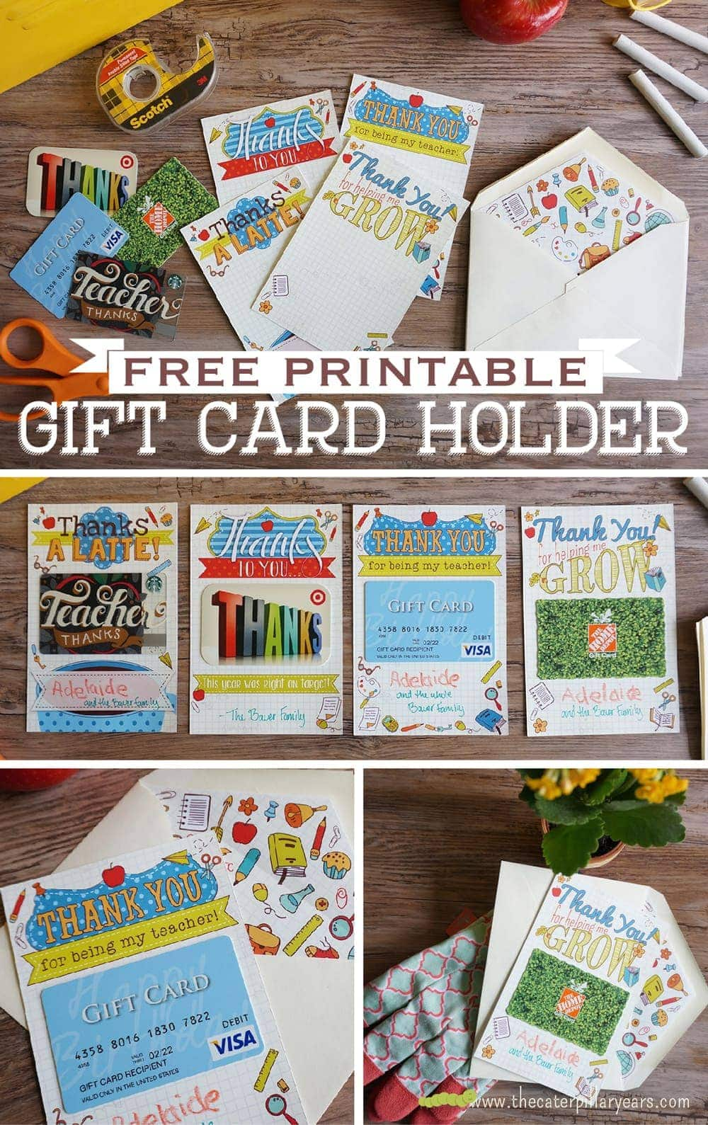 Free Printable Gift Card Holder for Teachers! Great end-of-year gift idea!