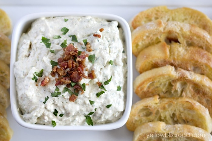 Carmelized Onion, Bacon and Goat Cheese Dip