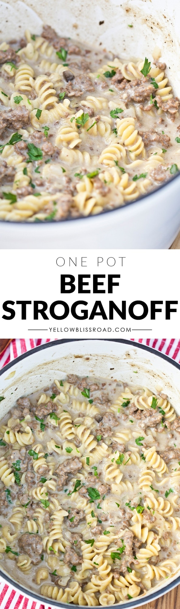One Pot Creamy Ground Beef Strogonoff long pin