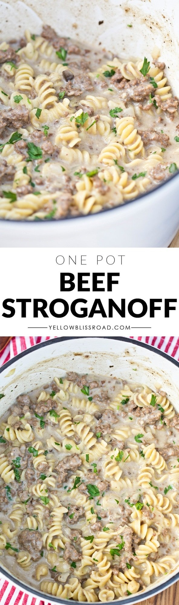 One Pot Creamy Ground Beef Strogonoff