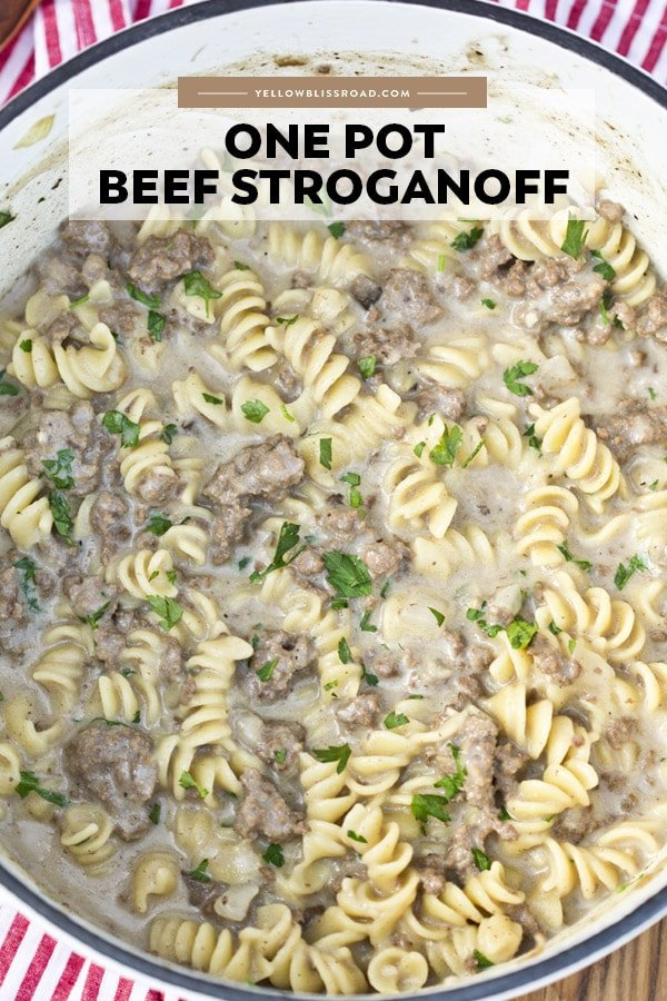 Ground Beef Stroganoff in a large pot. Image has the title of the recipe on it.