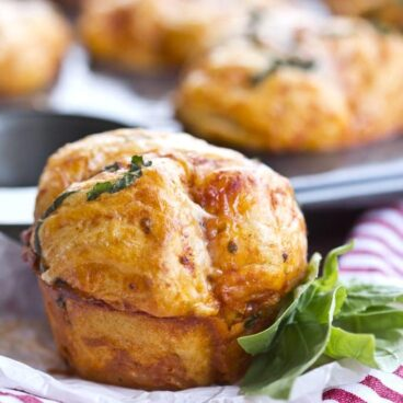 A close up of a Pizza Muffin